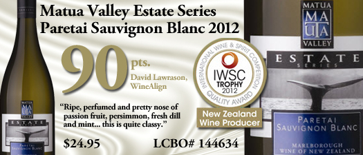 Matua Valley Estate Series Paretai Sauvignon Blanc 2012