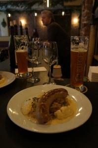 Bratwurst & Riegele Bier at Kafe Katja