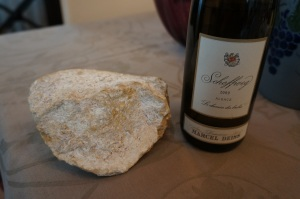 Deiss Schofweg next to limestone from the vineyard