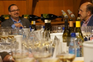 Jon Bonné and his top Chardonnays, with Gerard Basset MS, MW, OBE
