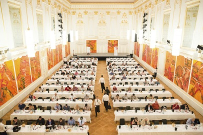 Top Austrian Red Wine Tasting at the Hofburg Palace (Can you spot the WineAlign logo on someone's computer?)