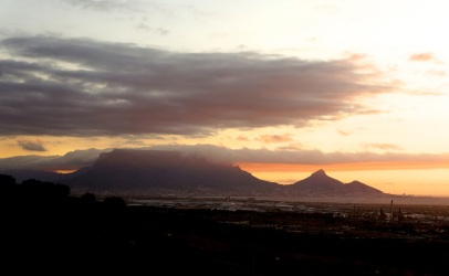 Night falling over Table Mountain, view from Durbanville Hills