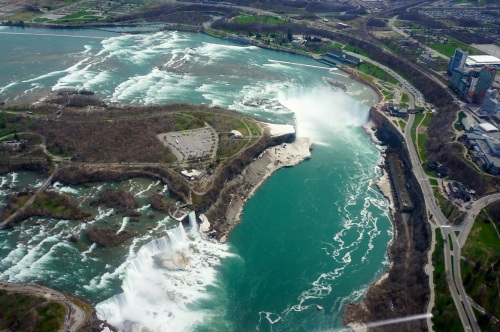 Niagara Falls from Above, with US falls in bottom left