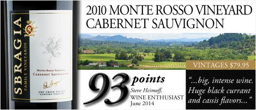 Sbragia Monte Rosso Vineyard Cabernet Sauvignon 2010