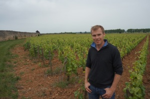 Benjamin Leroux standing in the Clos des Epeneaux (He has sinced moved on to focus his own wines under his name)