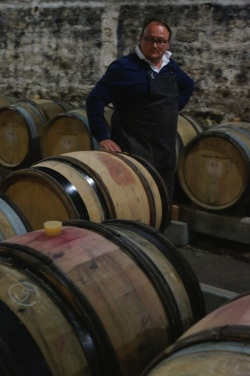 Rolling barrels at Domaine Philippe Pacalet