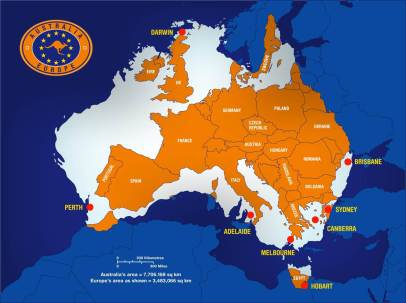 Australia Map w Europe Overlay