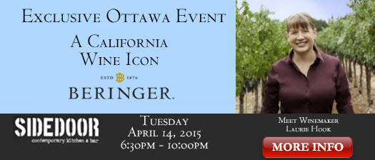 Exclusive Beringer Winemaker's Dinner – April 14 – Ottawa