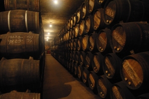 Barrels aging wines very slowly at Lopez de Heredia