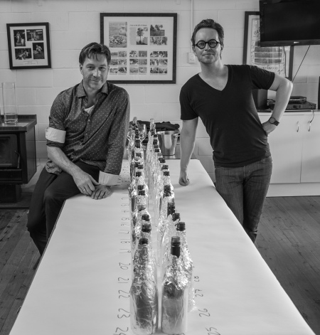 John Szabo and Brad Royale ready for Benchmark tasting. (photo: Damien Harrison, Brokenwood)
