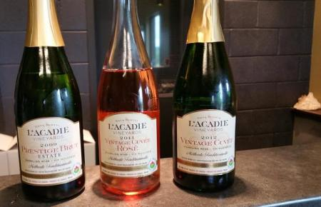 Sparkling wines of L'Acadie Vineyards, Gaspereau Valley, Nova Scotia