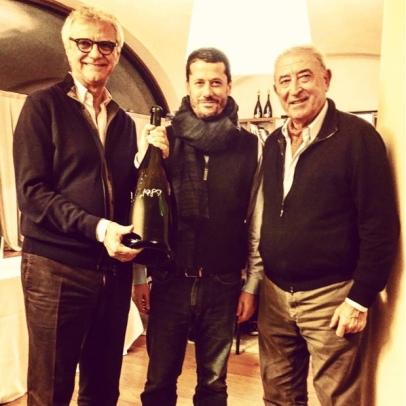 Standing with giants Bellavista winemaker Mattia Vezzola and Vittorio Moretti.