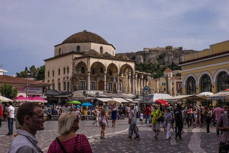 Busy Monastiraki neighborhood under the Acropolis, Athens-5358
