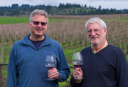 Pioneer David Adelsheim (R) with winemaker Dave Page