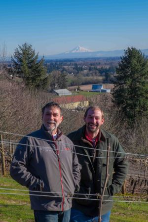 Steve Dorner, Tom Gerrie & Mt. Hood, from Cristom's Jessie Vineyard, Eola-Amity Hills