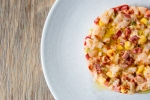 Scallop Tartar Croutons, Corn and Piquillo Pepper