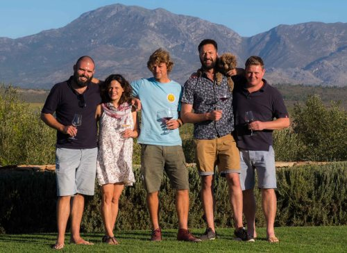 The _Zoo Biscuiters_- (L toR) John Seccombe, Thorne and Daughters, Marelise Niemann of Momento, Thinus Kruger, Fram Wines, Peter-Allan Finlayson, Crystallum, and Ch