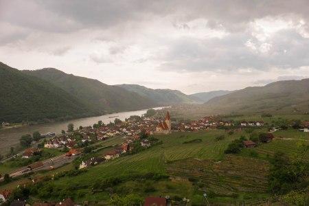 Looking West to the village of Weissenkirchen from the Achleiten Vineyard