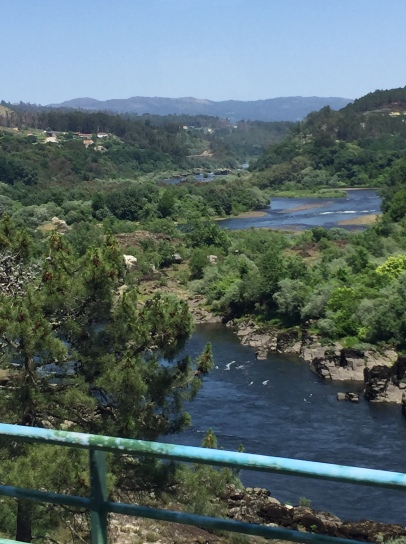 The Minho River border between Spain (left) and Portugal.