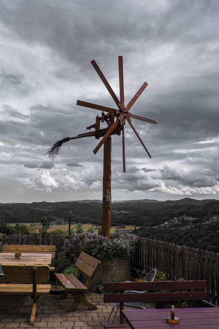 A klapotetz, typical clattering windmill to scare hungry birds in Styrian vineyards