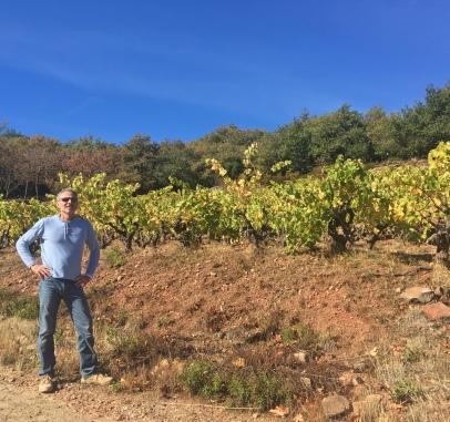 Olivier Jullien devant la vigne de Carlan, dans les Terrasses du Larzac.