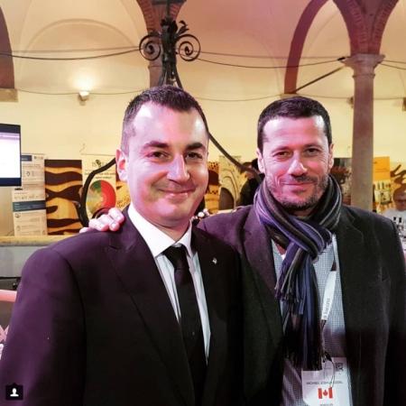 At the Chiostro Museo Montalcino with Consorzio Vice-President Tommaso Cortonesi