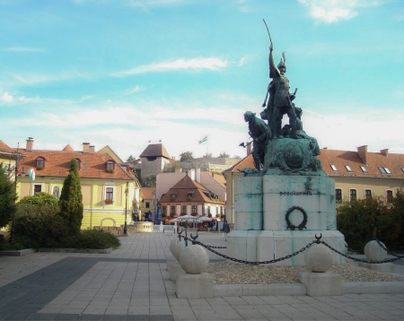 Dobó Square in Eger with statue of István Dobó and the Eger Castle behind