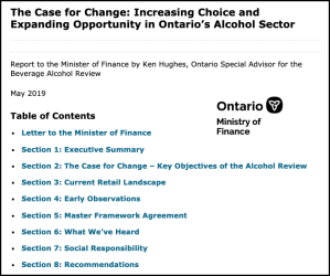 The Case for Change: Increasing Choice and Expanding Opportunity in Ontario's Alcohol Sector