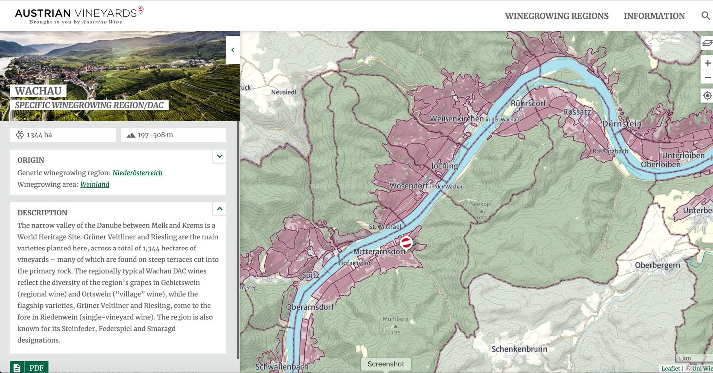 Wachau - Specific Winegrowing Region/DAC Map